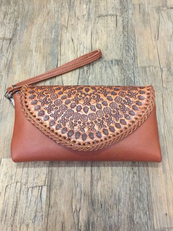 FLORENCE Women Clutch / Hand tooled clutch / Boho Clutch /