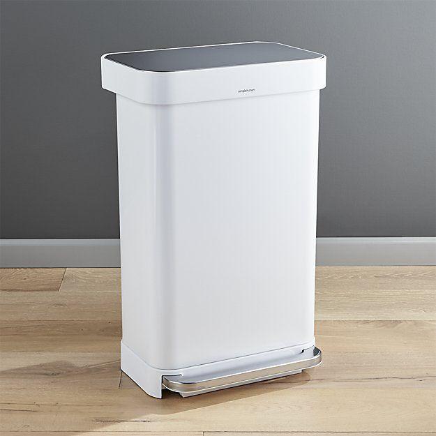Best Simplehuman 45 Liter 12 Gallon White Rectangular Step Can 400 x 300