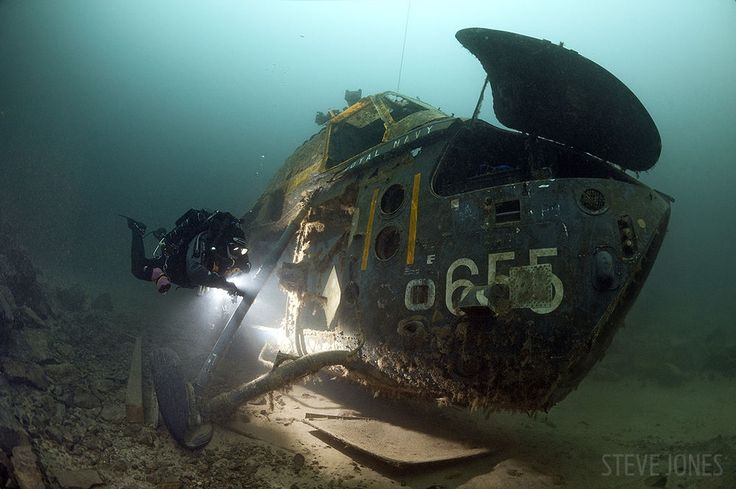 Royal Navy Wessex MK3 Helicopter underwater in England http://divingtales.com