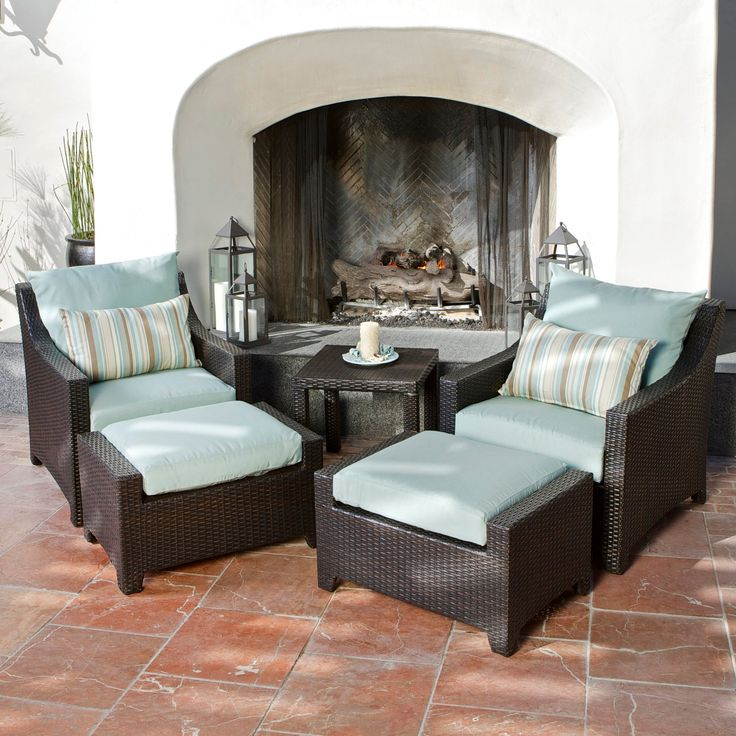 RST Outdoor Bliss 5 Piece Club Chair And Ottoman Set | From Hayneedle.com