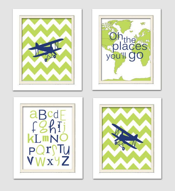 Nursery Art, Lime green and navy nursery, Madras Nursery, Airplane Nursery Set of 4, 8X10, Airplanes, Baby Boy, Oh the places, Boys Room Art...