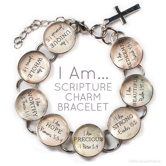 I Am... Scripture Glass Charm Bible Verse Bracelet by ScriptCharms. The perfect faith-based gift! Great for your Bible study sisters. This beautiful metal and glass bracelet features 8 encouraging statements of faith along with their corresponding Bible verse reference—each on their own glass charm—along with a dangling cross charm. Available in your choice of muti-color or pink.