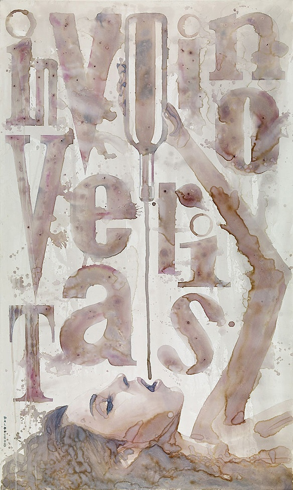 """In Vino Veritas""- actually painted with wine. Fascinating!"