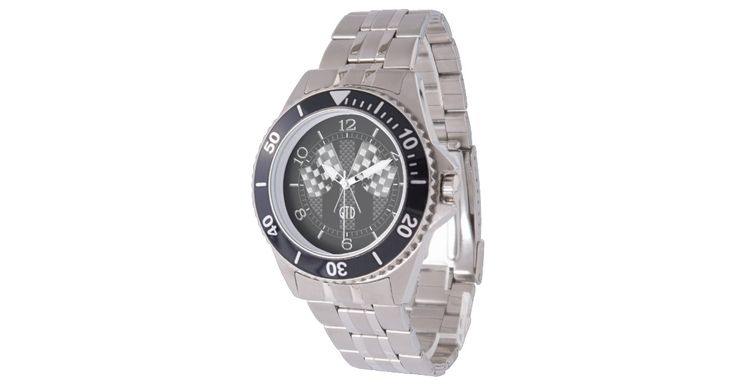 Monogram Racing Flags Black Stripes Carbon Style Watch