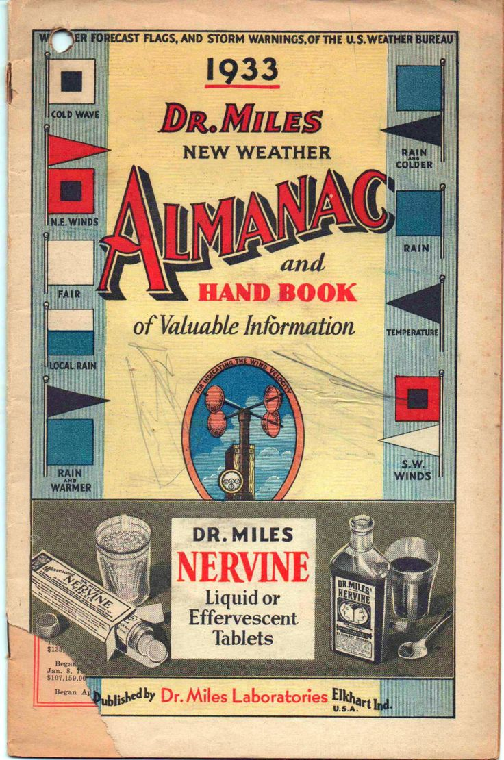 Dr. Miles New Weather Almanac and Hand Book of Valuable Information, 1933, fair shape by VintageNEJunk on Etsy