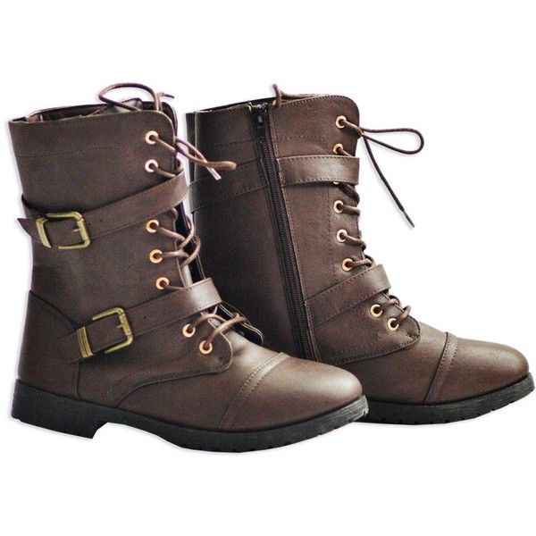 Twisted Women's Ainsley Fashion Military Boot ($20) ❤ liked on Polyvore featuring shoes, boots, army boots, combat boots, military boots, twisted shoes and combat booties