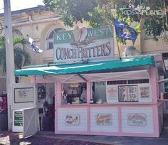 Shoshana can't resist stuffing her face. Key West Conch Fritters Food Stand