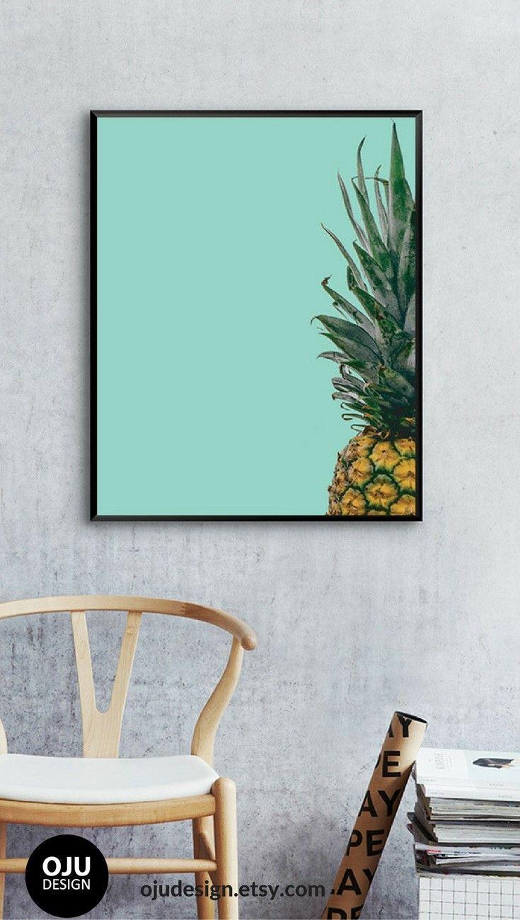 Kitchen Wall Art, Kitchen Wall Decor, Pineapple Print, Pineapple ...
