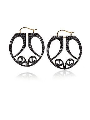 Gold and black diamond butterfly hoop earrings