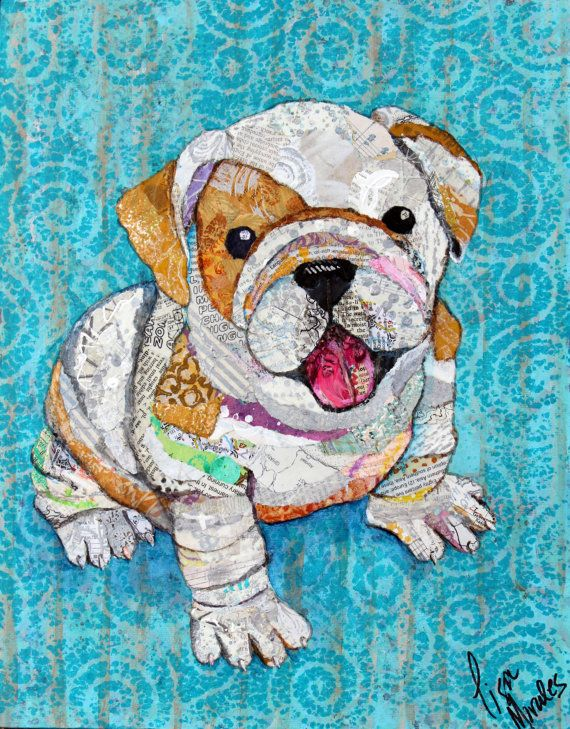Bulldog Print  Various Sizes  Paper Collage  by apinchofwonderful -- Lisa Morales.