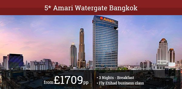 Enjoy absolute 5 star luxury on your next Bangkok holiday. Fly Etihad Business Class and stay at Amari Watergate Bangkok.