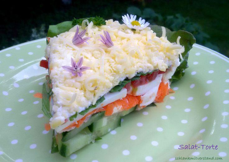 low carb Salattorte leckere Salatvariante mit Frischkäse zum Grillen oder für das Buffet schlankmitverstand