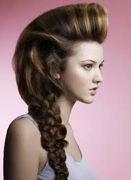 Long hair braid and upsweep.