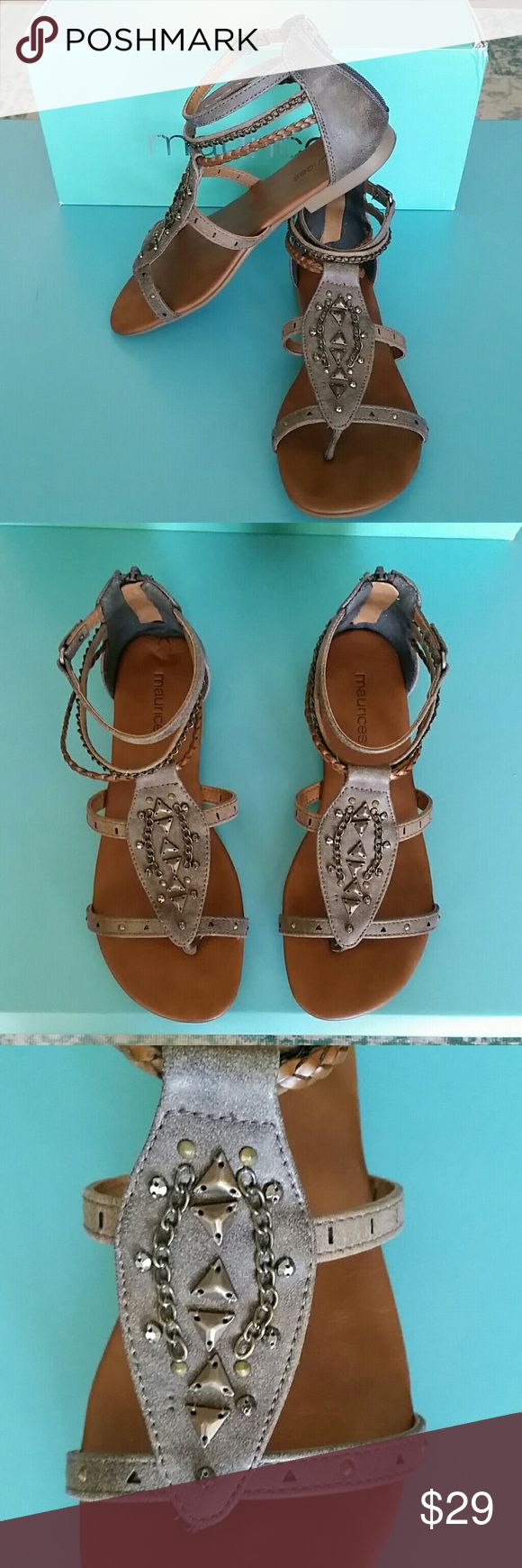 Super Cute Embellished Strappy Sandals Super Cute Embellished Strappy Sandals. Perfect colors of gray & brown to match almost any summer outfit. Stylish and very comfortable. Like new with box. Maurices  Shoes Sandals