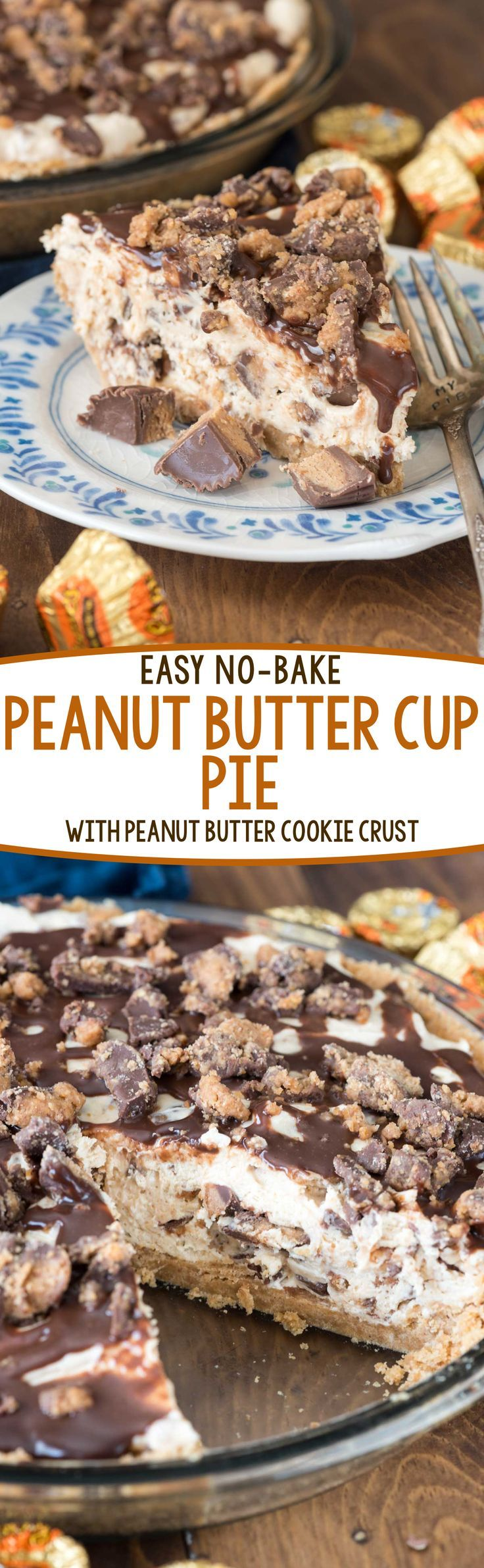 Easy No Bake Peanut Butter Cup Pie - this AMAZING pie recipe has a NUTTER BUTTER…