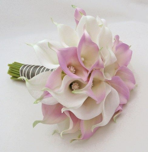 Real Touch Calla Lily Wedding Bouquet White Lavender Bridal Bouquet | SongsFromTheGarden - Wedding on ArtFire