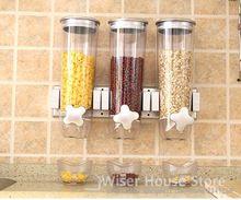 Dispensador de Comida Seca pote selo de plástico para armazenamento de grãos de cereais alimentares potes de doces de frutas secas grãos jar vasilha pendurado na parede Da Cozinha ferramentas(China (Mainland))
