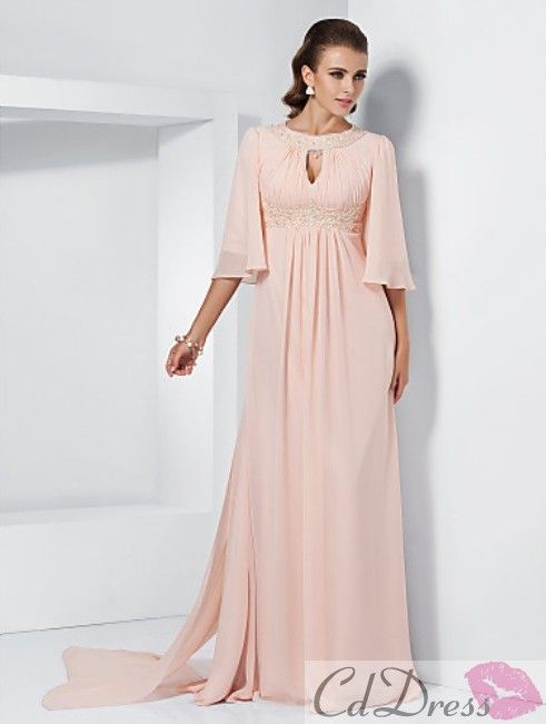 A-line Jewel Sweep/Brush Train Chiffon Evening Dress inspired by Melissa McCarthy at the 84th Oscar - Evening Dresses - Special Occasion Dresses - CDdress.com