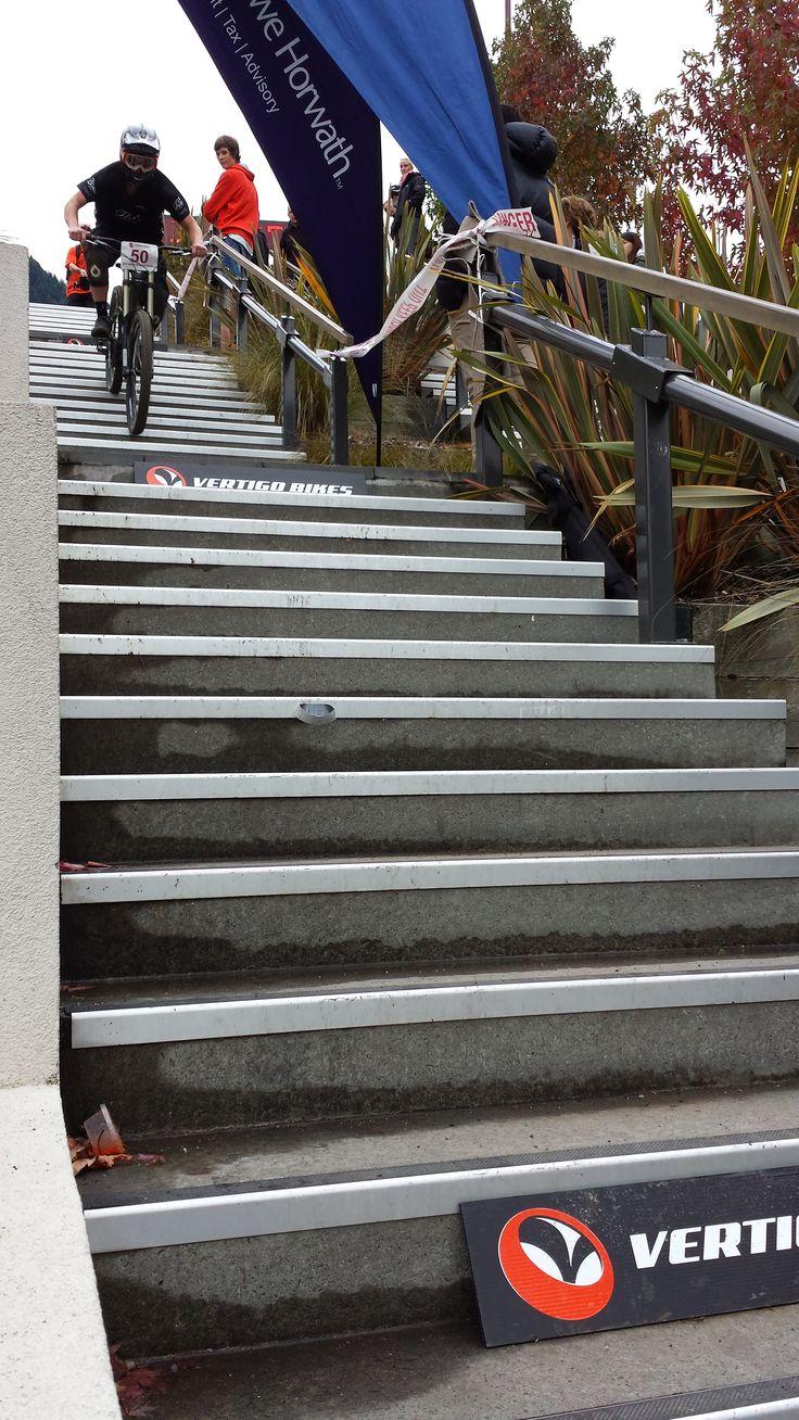 Vertigo Bikes Dirtmasters Downhill finish line at the Lonestar Brecon Street Stairs, Queenstown. #ultimatequeenstown