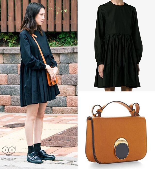 GHJ paired her black Molly Goddard Mars Mini Dress  with Marni Leather Shoulder Bag  for her scenes of episode 9 #DontDaretoDream  . Eonni really looked so pretty in this outfit  . Thanks to @kdrama_fashion for your info