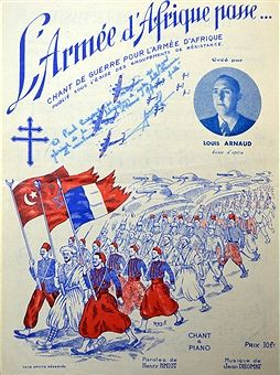 Cover of French patriotic song sheet 'The song of war for the African Army' the composer Louis Arnaud is shown alongside a column of Zouave soldiers from Tunisia and Morocco.. Pin by Paolo Marzioli