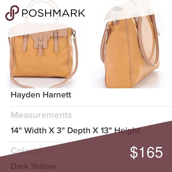 Hayden Harnett Handbag Muted Yellow & Tan tote gently used twice very roomy and comfortable to carry. Hayden Harnett Bags Satchels