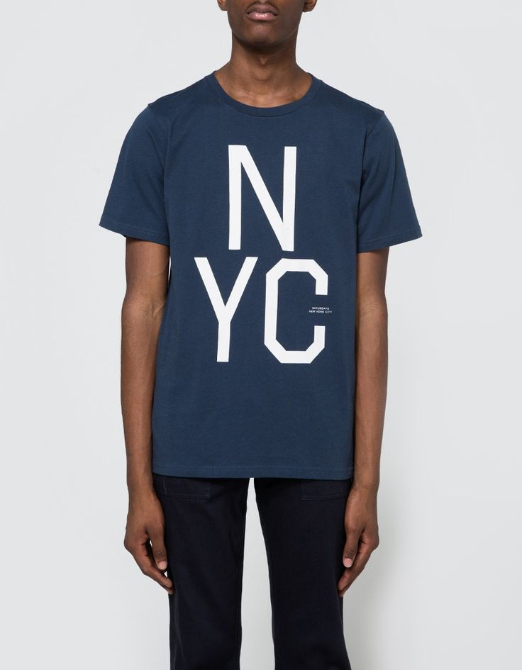 From Saturdays NYC, a graphic tee in Blue. Featuring a ribbed crew neckline and large screen printed logo graphic at front.  • Graphic tee in Blue • Ribbed crew neckline • Screen printed graphic • 100% cotton • Machine wash cold, tumble dry low