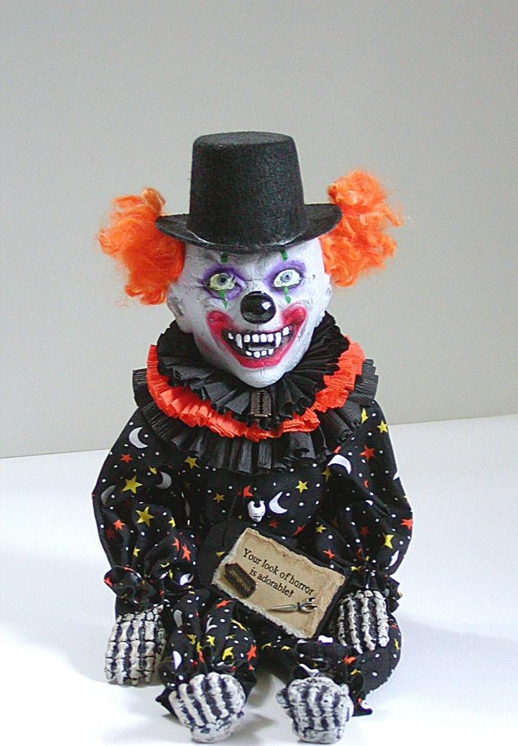 Clown Doll, Creepy Clown, Stars and Moons, Orange, Yellow, Doll, Freak, Black, White, Scary Clown, Halloween Doll, Skeleton, Razor. via Etsy.