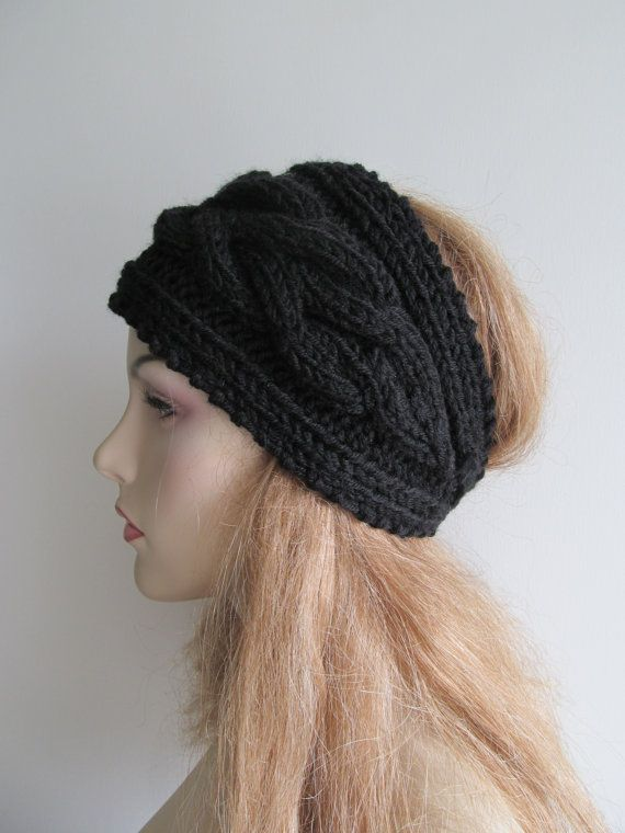 Knitted cabled headband, ear warmer; made of soft and chunky wool & acrylic blend yarn in the Black color. Has soft texture, warm and stylish. This is a
