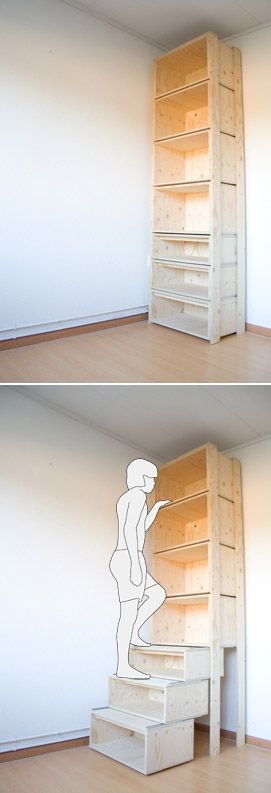 garage shelving idea the lower shelves glide out so you can step to reach top