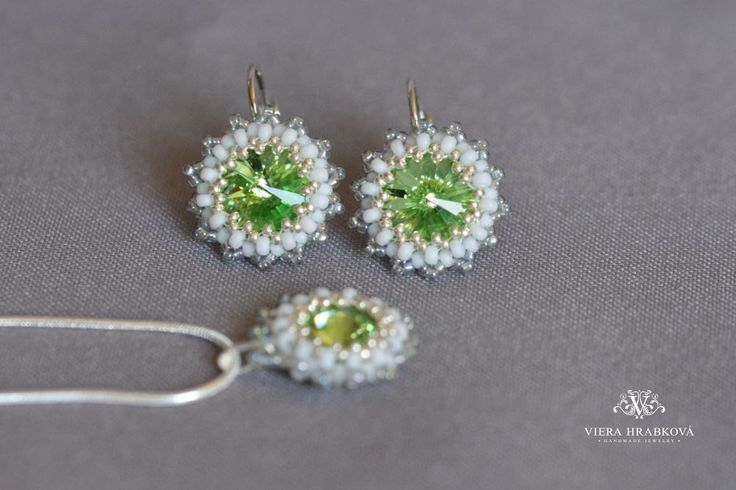 Beaded set of earrings and pendant on silver plated snake chain made with Swarovski crystal elements by VEHA on Etsy