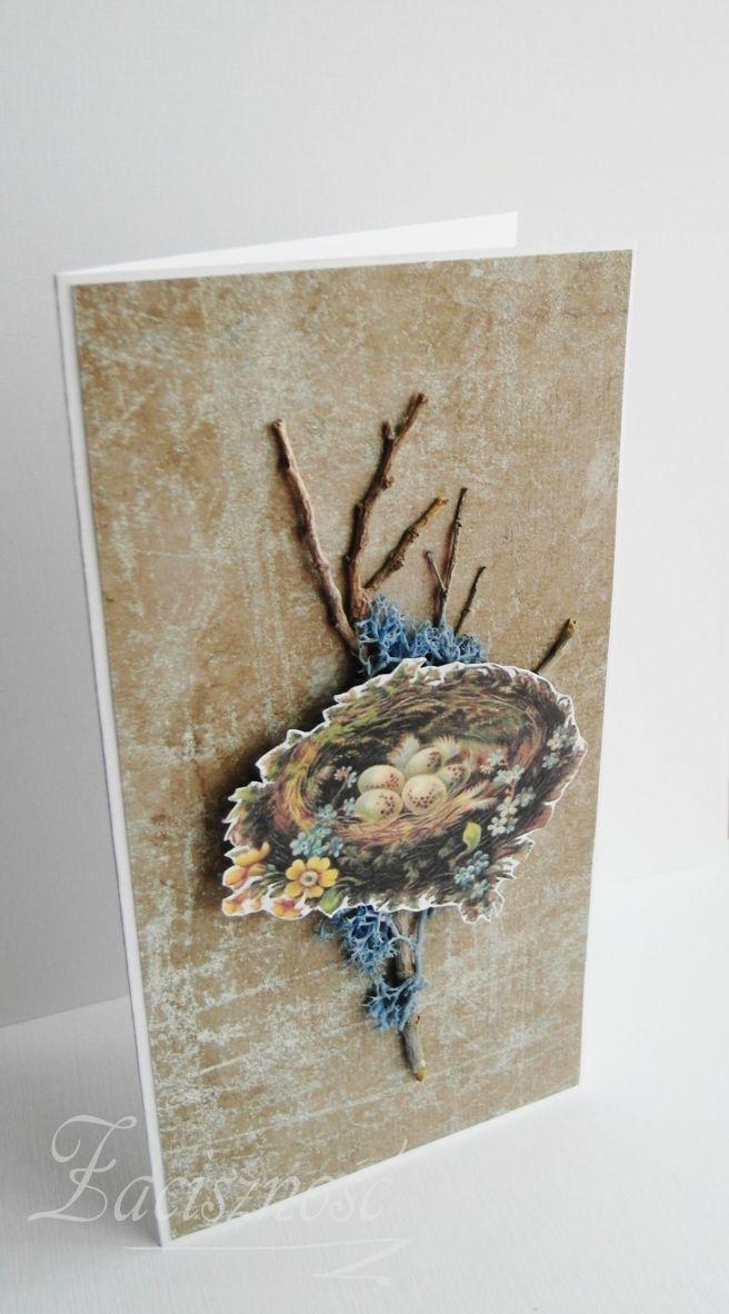 Kartka wielkanocna z ptasim gniazdem na gałązkach/ Handmade Easter card with nest