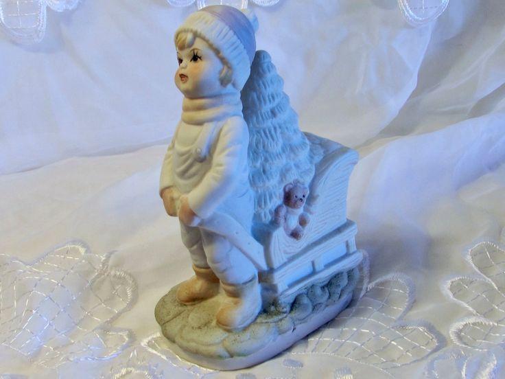 Bisque Porcelain Little Boy Pulling Sled, White Bisque Porcelain Muted Colors Figurine, Christmas Decor, Table Decor