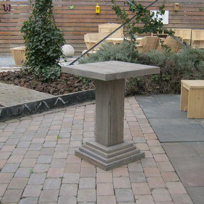 Steigerhout statafel 'Glowe', een leuke en praktische tafel voor café en tuin. www.rustikal.nl