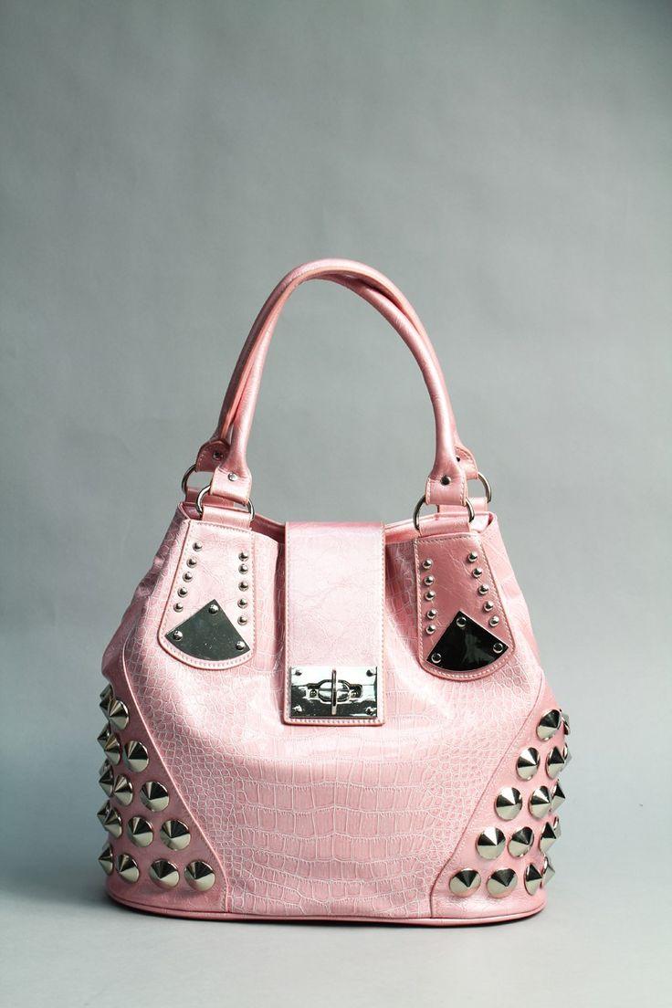 Studded corner latch purse