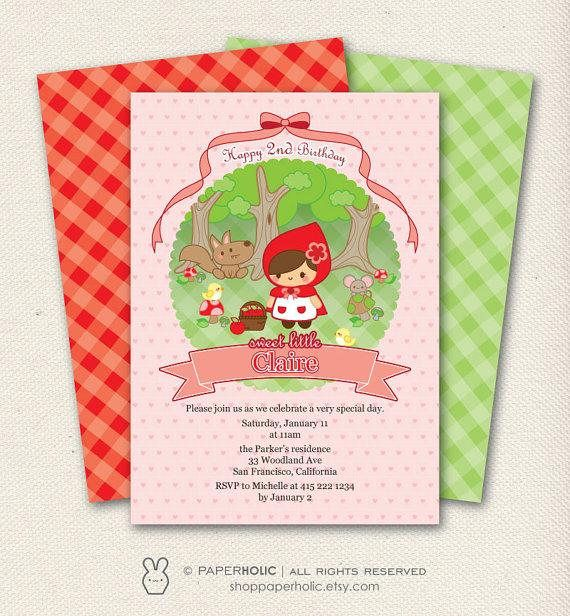 SWEET LITTLE RED RIDING HOOD PRINTABLE BIRTHDAY INVITATION PRODUCT DETAILS ... is a high resolution non-editable printable invitation in PDF or JPG format. Your order will be emailed to your ETSY related email address within 1-3 business days upon receipt of payment. (NO items will be