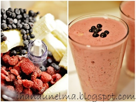 blueberry, rasberry and banana shake