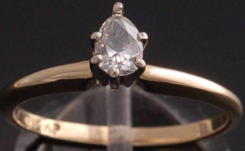 Size 6-1/4 - 14k Gold Teardrop Diamond Ring - OT10M