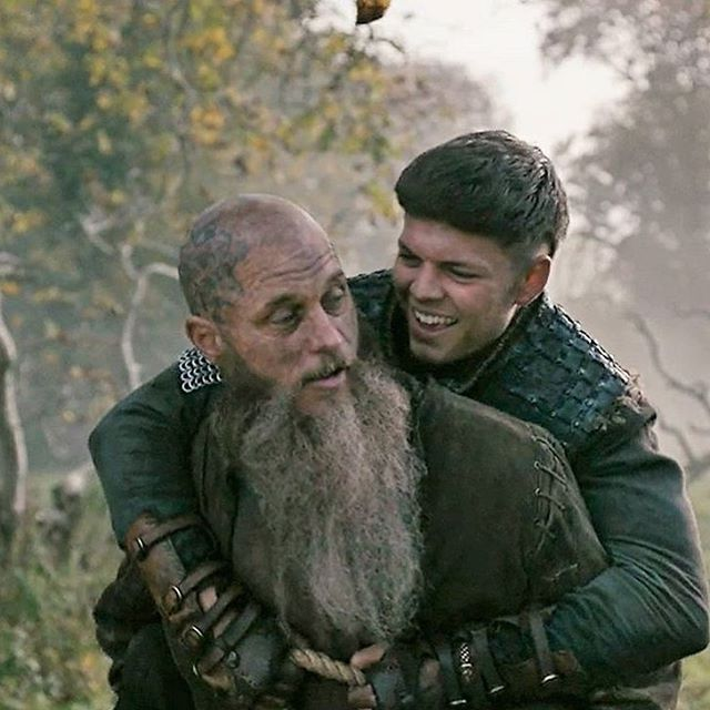 Ivar the Boneless  (Alex Høeg Anderson) being carried by his father, King Ragnar Lothbrok  (Travis Fimmel) Season 4 #Vikings | Vikings