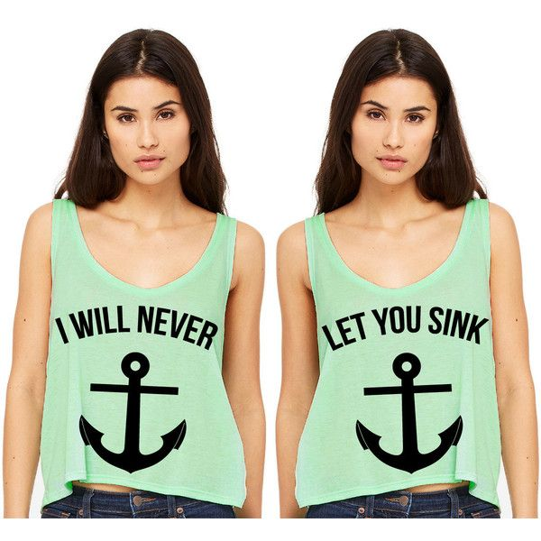 Mint Green Cropped Tank Top I Will Never Let You Sink Summer Outfit... ($15) ❤ liked on Polyvore featuring tops, shirts, tanks, silver, women's clothing, summer crop tops, summer tank tops, neon pink crop top, summer tops and crop top