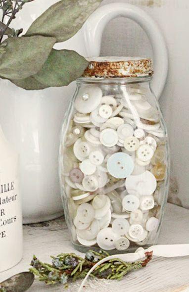 Old jar of vintage buttons