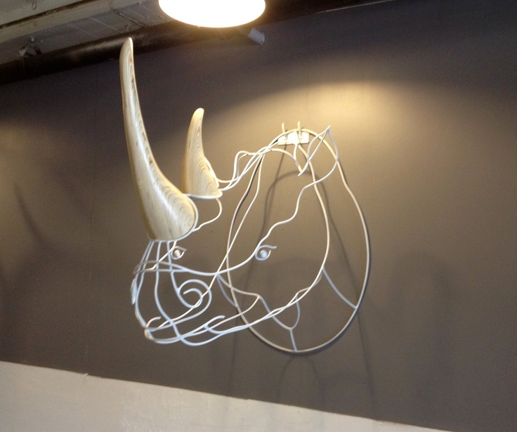 White Rhino. $2,000.00, via Etsy.  The price?  too much.  The idea- cool!  Would look so good in my big room.