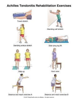 calf strengthening exercises   Calf and achilles tendon stretch. Source: Christensen, K.D. 2009
