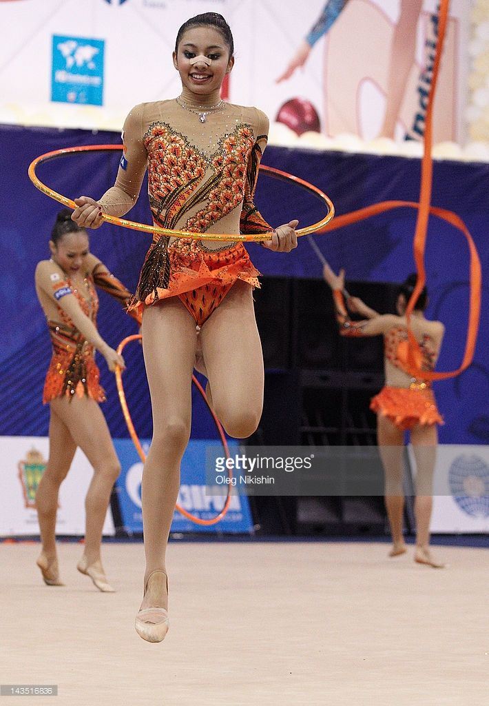 The Japanese team competes during the FIG Rhythmic Gymnastics World Cup in Penza on April 28, 2012 in Penza, Russia.