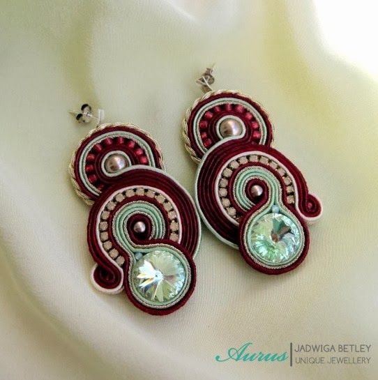 Aurus: soutache I LOVE the red and mint green together! Why have I never thought about putting those two colors together!