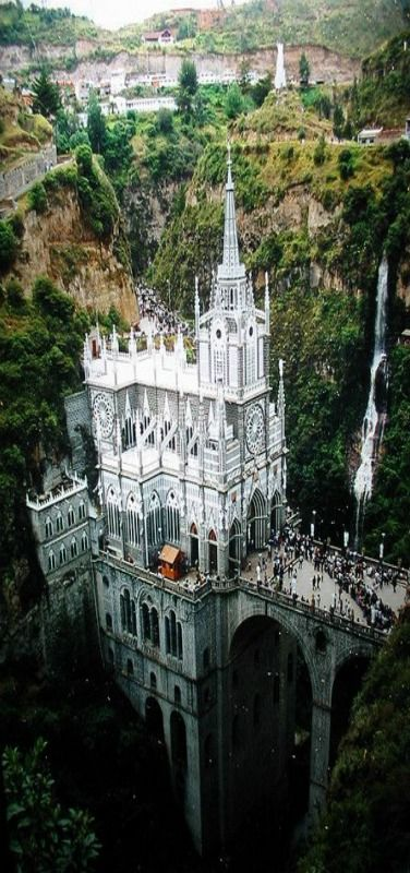 Santuario de las Lajas, Basilica Church, was built in a Gothic Revival style inside the Canyon of the Guaitara River located in Colombia, South America. by joshua royal