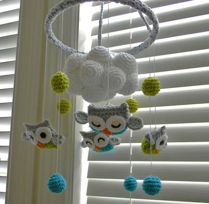 crochet mobile with owls