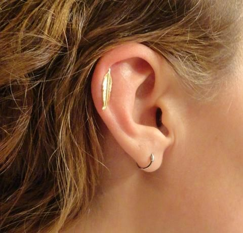 Gold Feather Cartliage Earring Tragus Helix Piercing