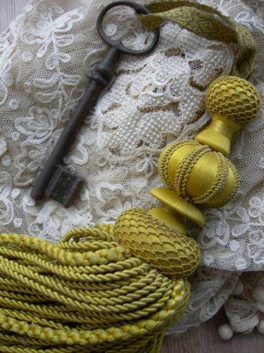 Huge antique French passementerie silk key tassel w. large key attached | eBay