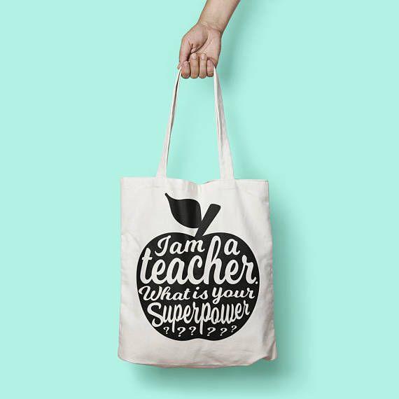 I am a teacher handlettering tas zwart